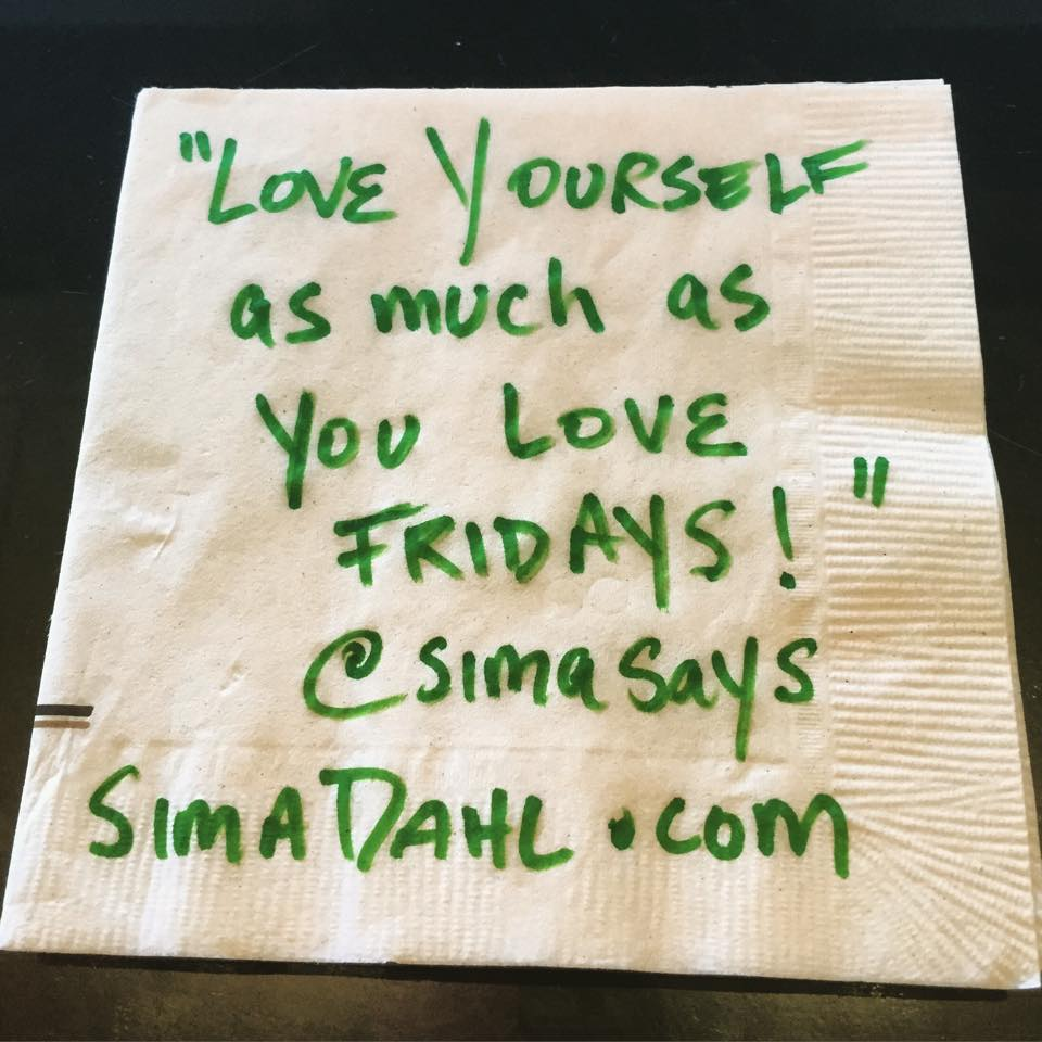 Love yourself - cocktail napkin quote