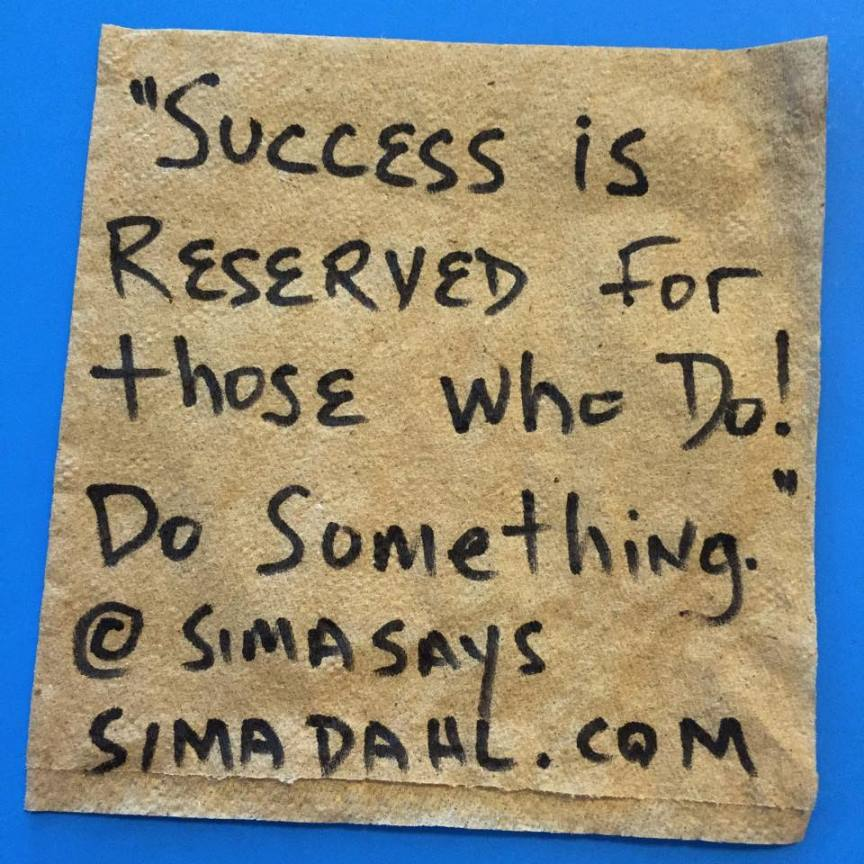 Success is reserved - cocktail napkin quote