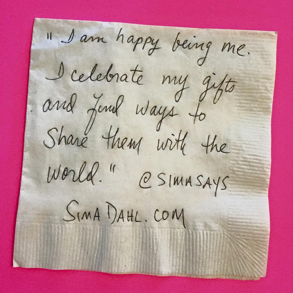 I am happy being me. cocktail napkin quote