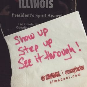 Show-Up-Step-Up-See-It-Through cocktail napkin quote