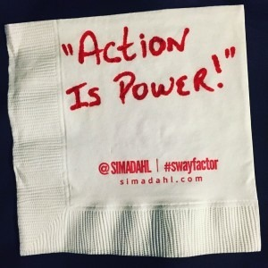 Action is power! cocktail napkin quote