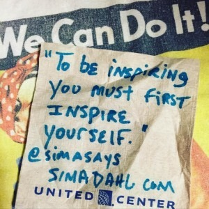 To be inspiring you must first inspire yourself. cocktail napkin quote