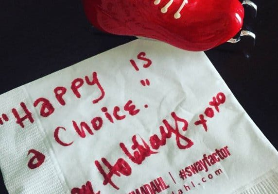 Happy is a choice. cocktail napkin quote