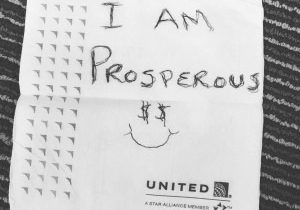I am prosperous. cocktail napkin quote