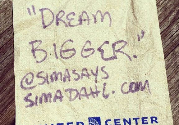Dream bigger - cocktail napkin quote