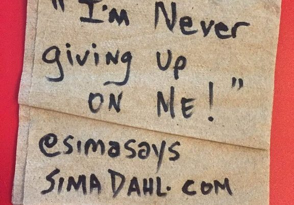 I'm never giving up on me- cocktail napkin quote
