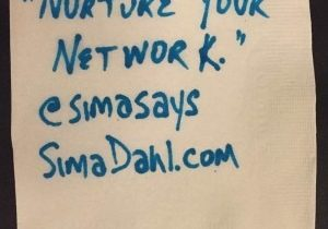 Nurture your network. cocktail napkin quote