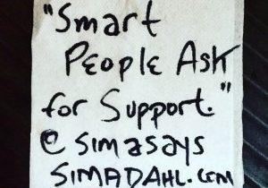 Smart people ask for support. cocktail napkin quote